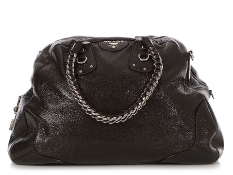 Prada Extra Large Black Cervo Lux Shoulder Bag
