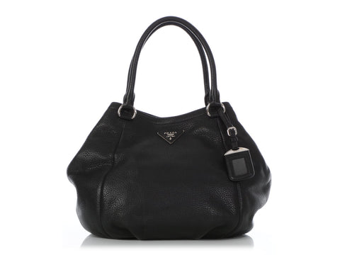 Prada Medium Black Vitello Daino Convertible Satchel