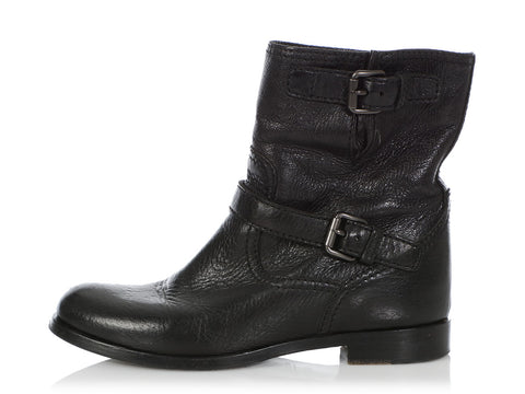 Prada Black Leather Short Boots