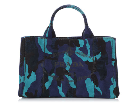 Prada Blue Camo Canvas Tote
