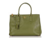 Prada Small Green Saffiano Double Zip Galleria Tote