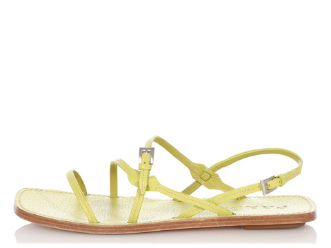 Prada Green Strappy Sandals