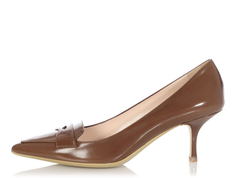 Prada Tobacco Kitten Heel Loafer Pumps