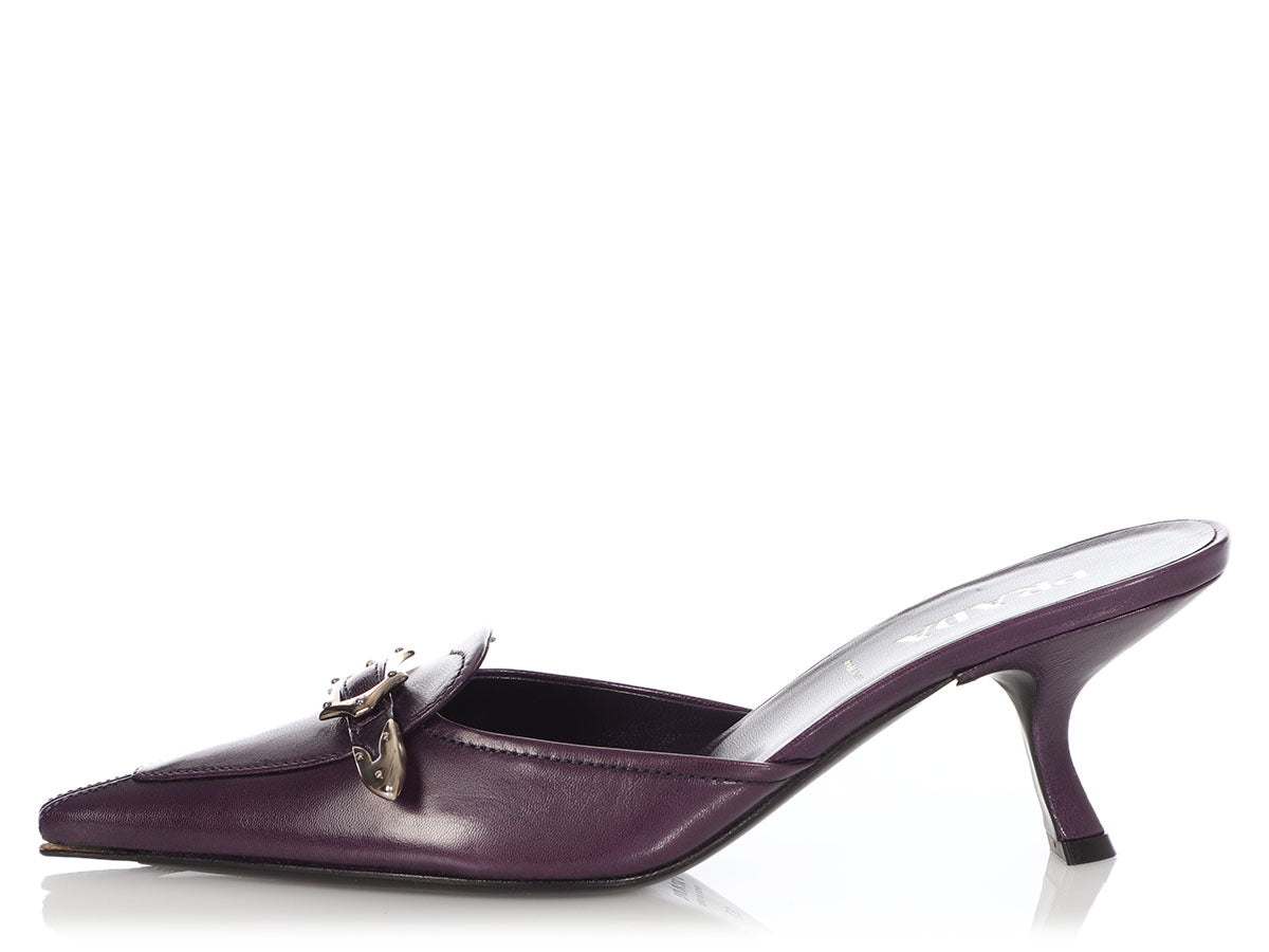 Prada Purple Buckle Mules