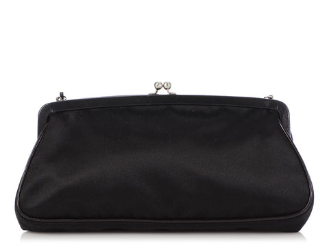 Prada Black Satin Raso Kiss Lock Evening Bag