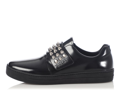Prada Black Studded Oxfords