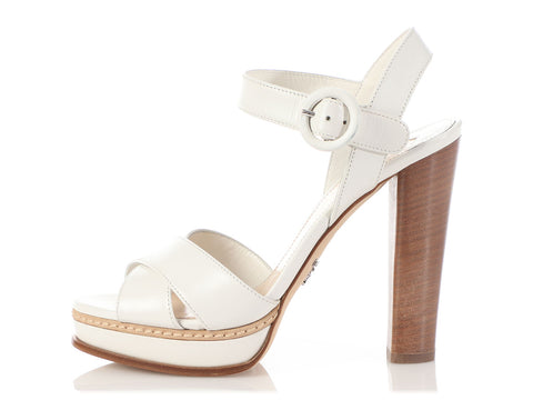 Prada White Leather Platform Sandals