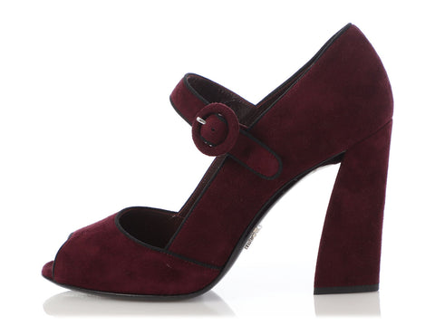 Prada Burgundy Suede Peep Toe Pumps