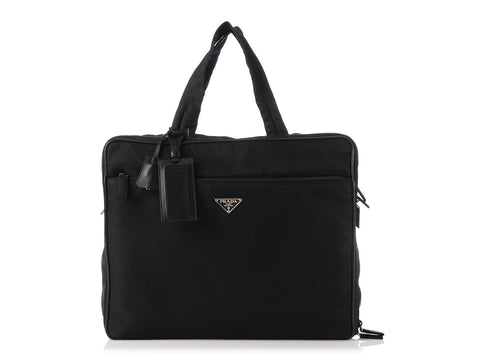 Prada Vintage Black Nylon Shoulder Luggage Bag