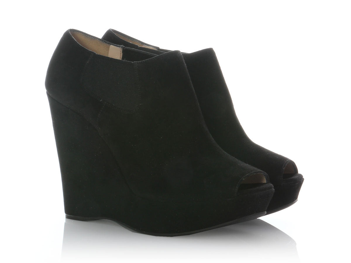 bc4d13f577f Prada Black Suede Peep Toe Wedge Booties