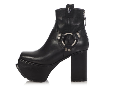 R13 Black Harness Platform Ankle Boots