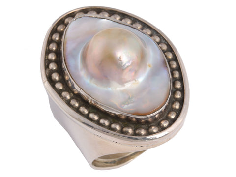 Rebecca Collins Blister Pearl Ring