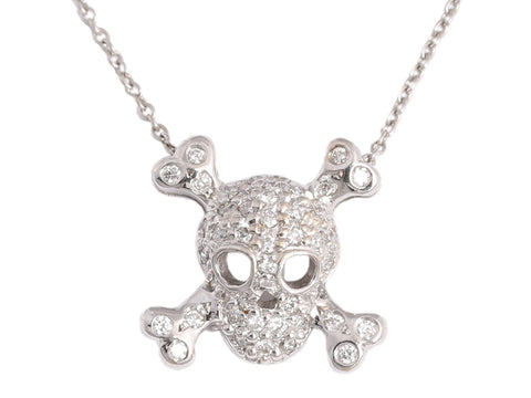 Roberto Coin Tiny Treasures Diamond Skull Necklace