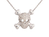 Roberto Coin Tiny Treasures 18K White Gold and Diamond Skull Necklace