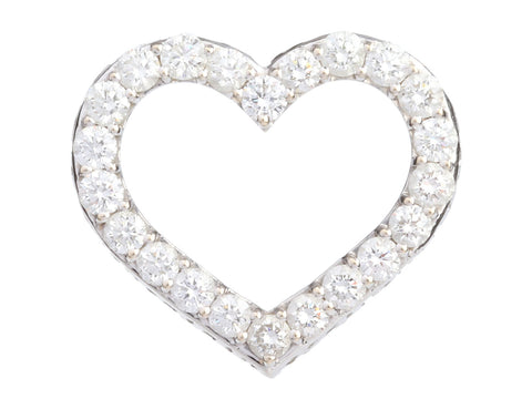 Roberto Coin Large 18K White Gold Diamond Tiny Treasures Heart Pendant