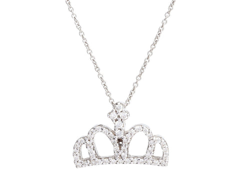Roberto Coin 18K White Gold Diamond Tiny Treasures Crown Necklace