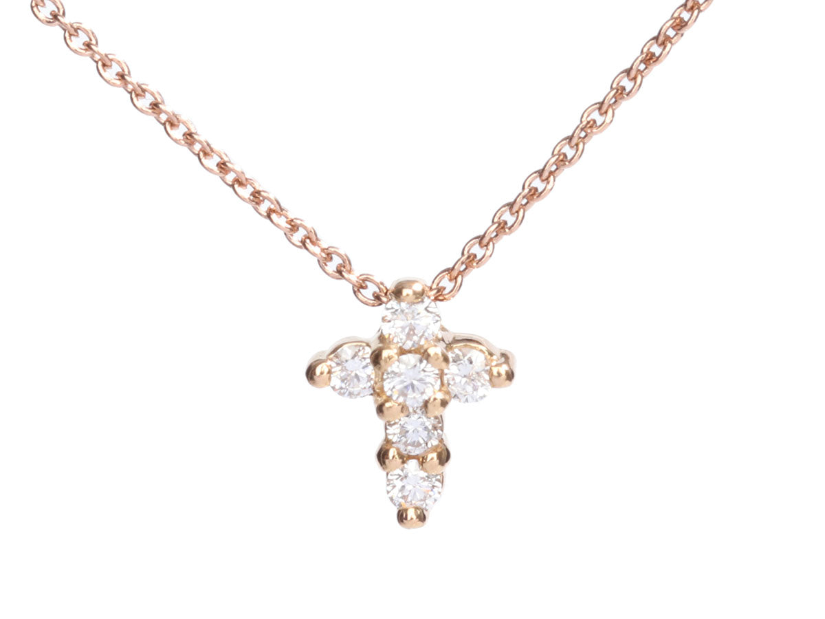 Roberto Coin 18K Rose Gold Diamond Baby Cross Pendant Necklace