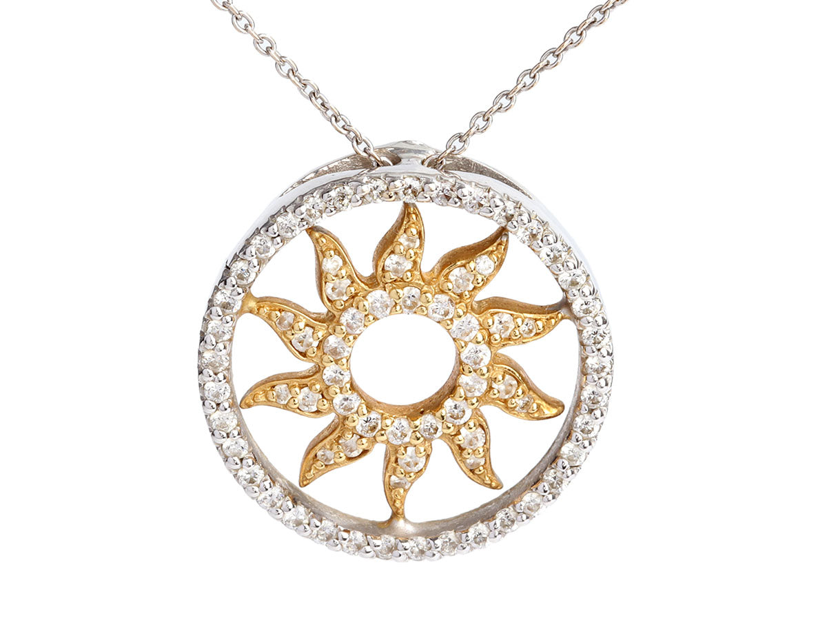 Roberto Coin Two-Tone 18K Gold Diamond Sun Pendant Necklace