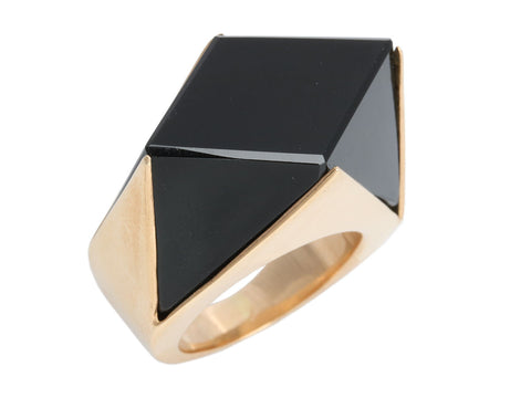 14K Yellow Gold Black Onyx Geometric Ring