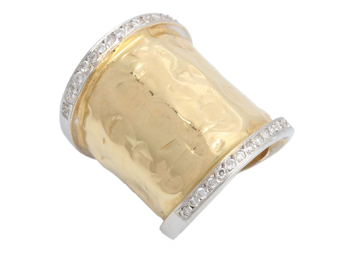 Two-Tone 18K Gold and Diamond Wide Band Ring