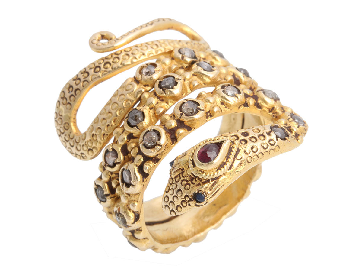 18K Yellow Gold and Brown Diamond Snake Ring