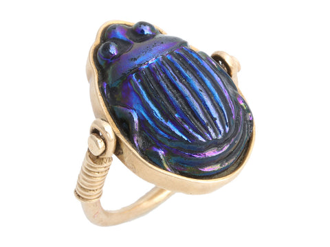 14K Yellow Gold Blue Scarab Ring