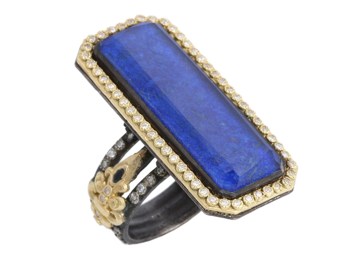 Sterling Silver and 18K Yellow Gold Blue Glass and Diamond Ring