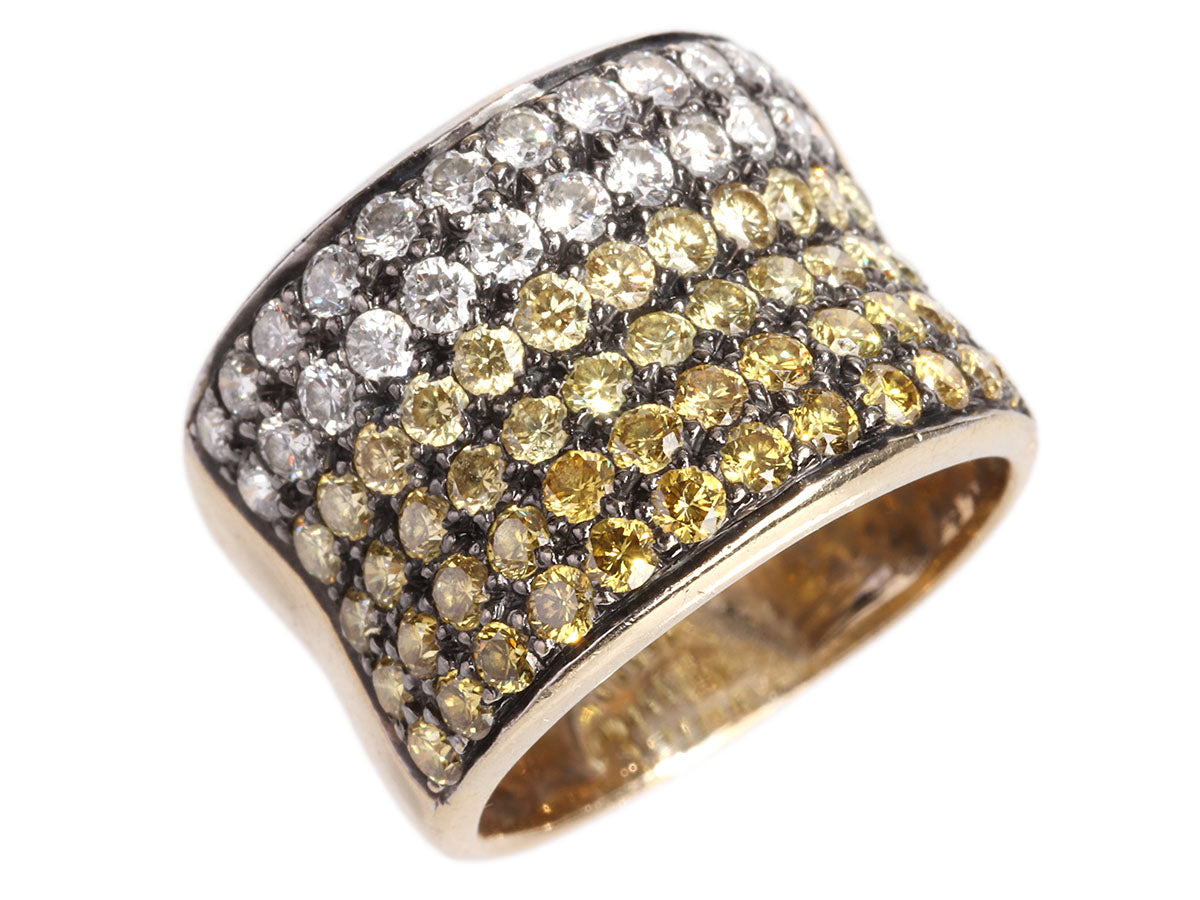 Sethi Couture 18K Yellow Gold White and Yellow Diamond Ombre Band Ring