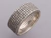 Sterling Silver Pavé Diamond Cigar Band Ring