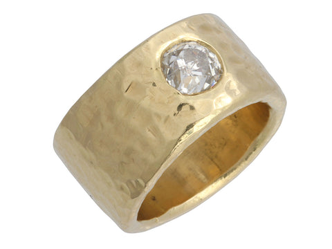 Wide 14K Yellow Gold and 1.25 Carat Diamond Band Ring