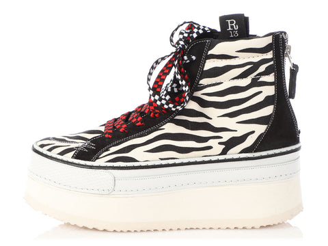 R13 Zebra Print High-Top Skater Platform Sneakers