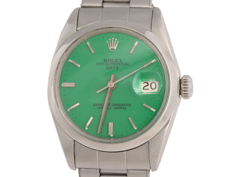 Rolex Green Oyster Perpetual Date Watch