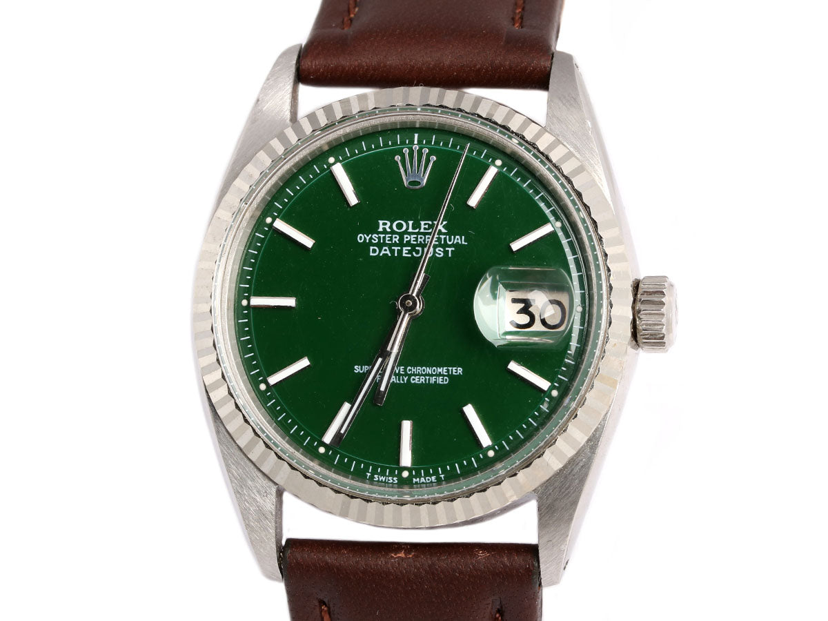 Rolex Midsize Green Oyster Perpetual Datejust Watch 36mm