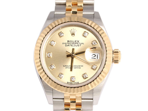 Rolex Ladies Diamond Oyster Perpetual Datejust Watch 28mm