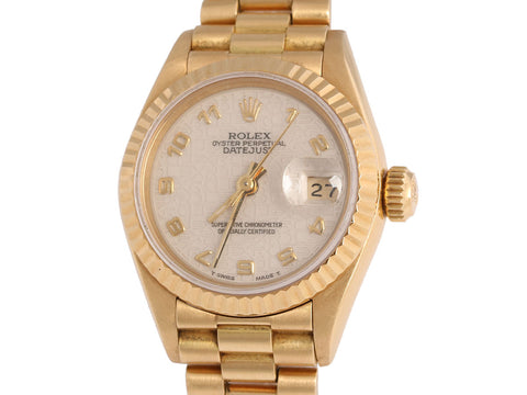 Rolex 18K Gold Ladies Oyster Perpetual Datejust Watch 26mm