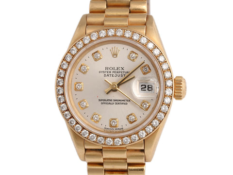 Rolex Ladies 18K Gold Diamond Datejust Watch 26mm