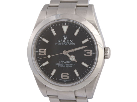 Rolex Mens Stainless Oyster Perpetual Explorer Watch 39mm