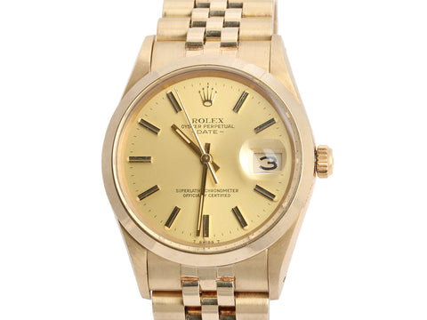 Rolex 14K Yellow Gold Midsize Oyster Perpetual Date Watch 36mm