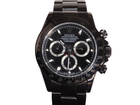 Rolex Black Stainless Steel Mens Oyster Perpetual Cosmograph Daytona Watch 40mm