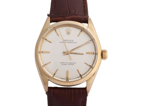 Rolex Vintage 18K Yellow Gold Mens Oyster Perpetual Watch 35mm