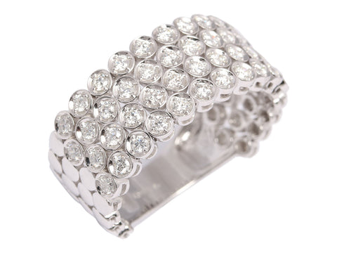 Sonia Bitton 14K White Gold and Diamond Semi Bezel Flex Ring