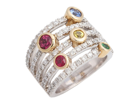 Sonia Bitton 14K White Gold 5-Row Diamond and Multicolor Gemstone Band Ring