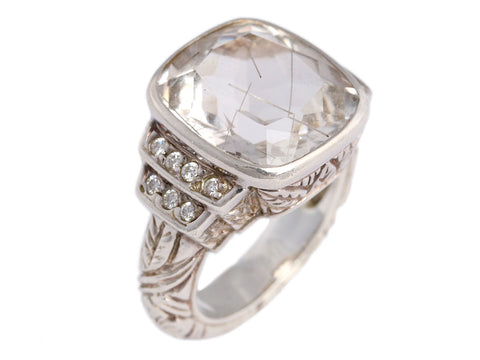 Stephen Dweck Sterling Silver Rutilated Quartz and Diamond Ring