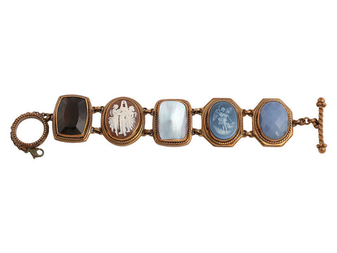 Stephen Dweck Bronze Five Stone Unique Cameo Bracelet