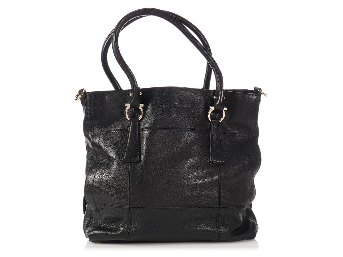 Ferragamo Black Grained Leather Tote