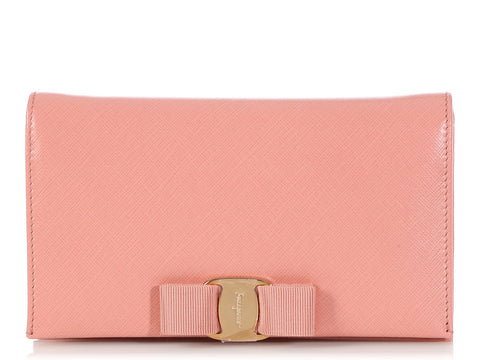 Ferragamo Blush Vara Wallet on a Chain