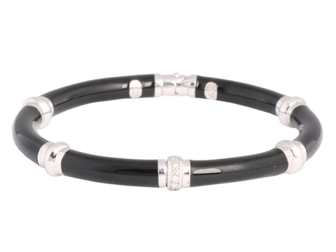 Soho Black Enamel and Diamonds Bangle