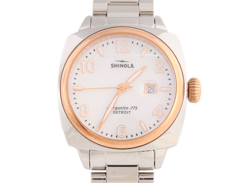 Shinola Rose Gold and Stainless Brakeman Watch 33mm