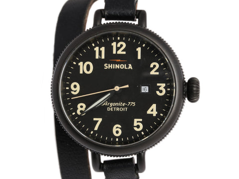 Shinola Black Birdy Double Wrap Watch 34mm