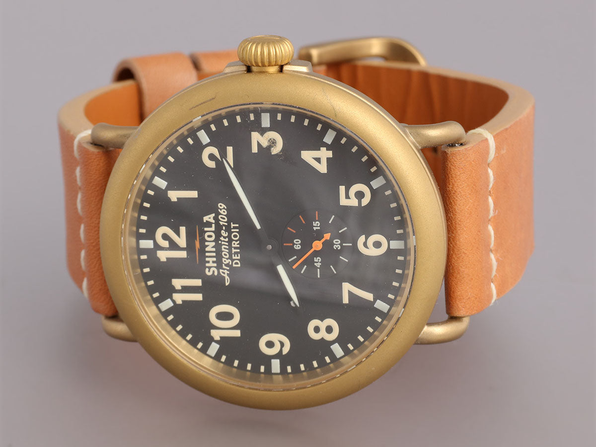 ffee86cc0 Shinola Brass Plate Mens Runwell Watch 47mm